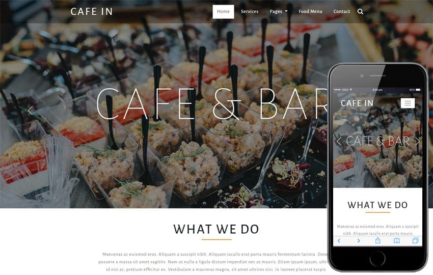 Cafe in Restaurants Category Bootstrap Responsive Web Template Mobile website template Free