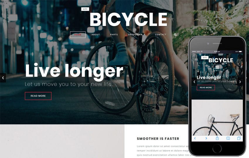 City Bicycle a Product ad Bootstrap Responsive Web Template Mobile website template Free