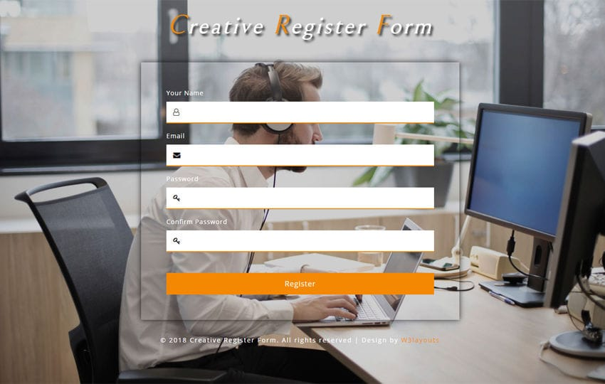 Creative Register Form Responsive Widget Template Mobile website template Free
