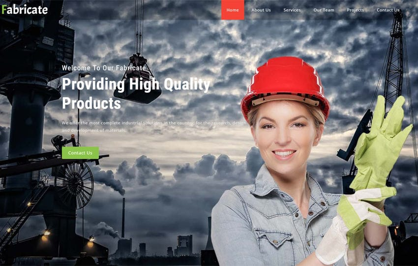 Fabricate Industrial Category Bootstrap Responsive Web Template Mobile website template Free