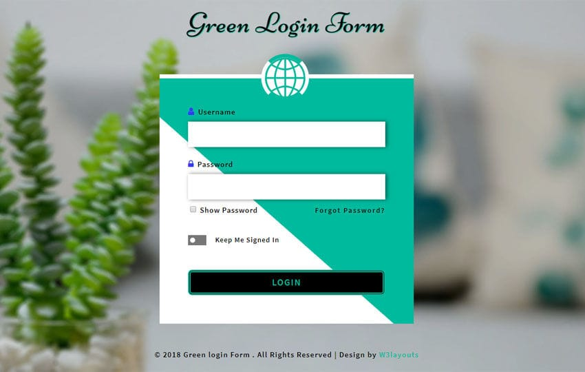 Green Login Form Flat Responsive Widget Template Mobile website template Free