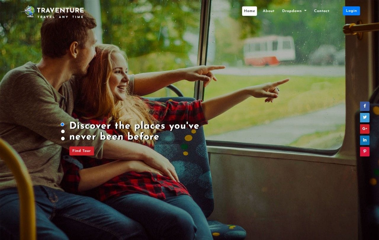 Traventure Travel Category Bootstrap Responsive Web Template Mobile website template Free