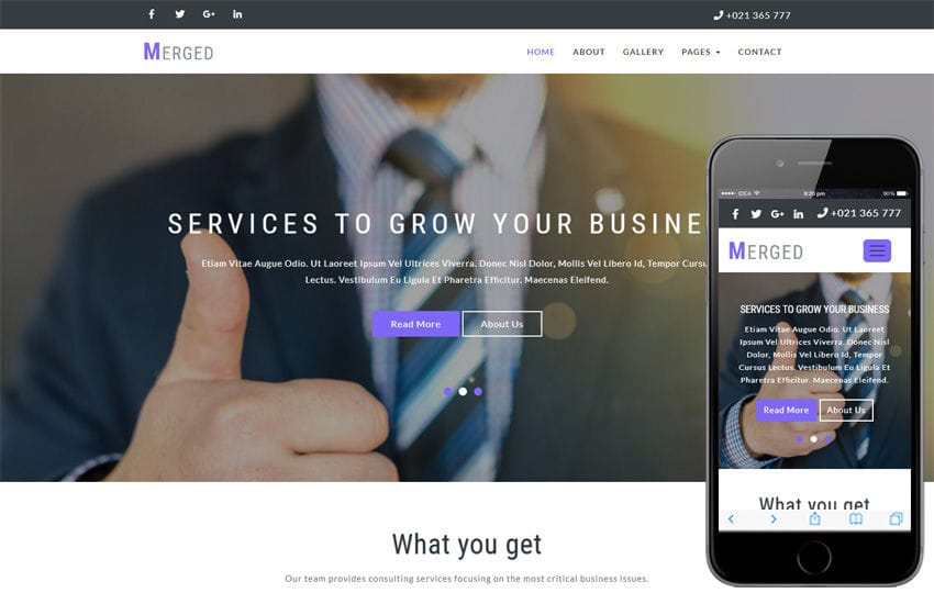 Merged Corporate Category Bootstrap Responsive Web Template Mobile website template Free
