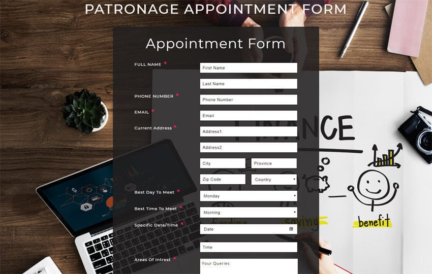 Patronage Appointment Form Responsive Widget Template Mobile website template Free