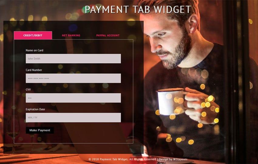 Payment Tab Widget Flat Responsive Widget Template Mobile website template Free