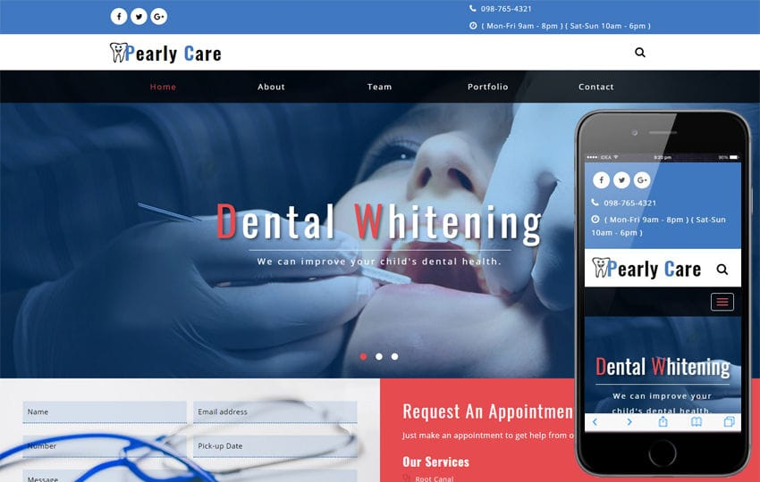 Pearly Care Medical Category Bootstrap Responsive Web Template Mobile website template Free