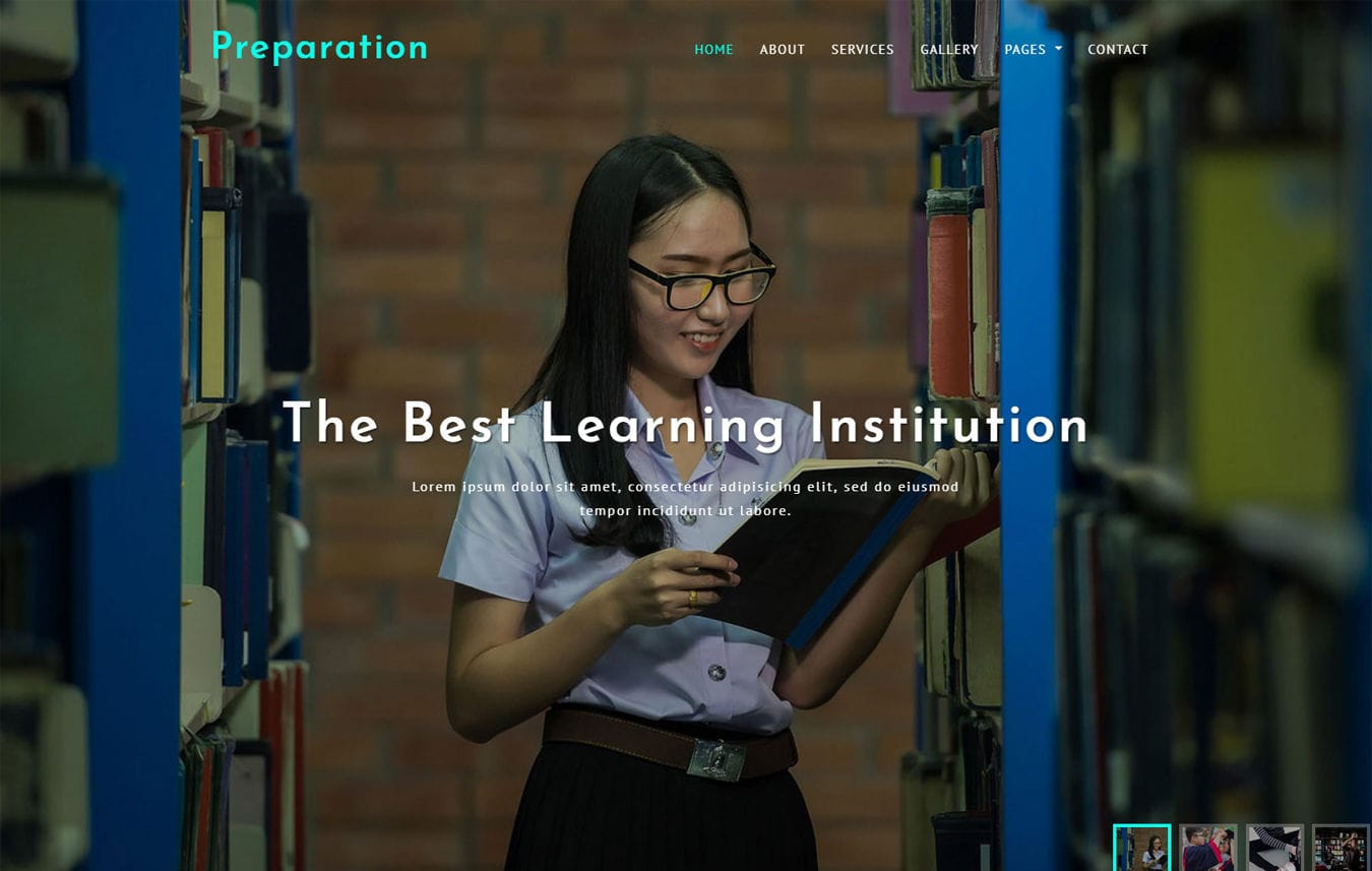 Preparation Education Category Bootstrap Responsive Web Template Mobile website template Free