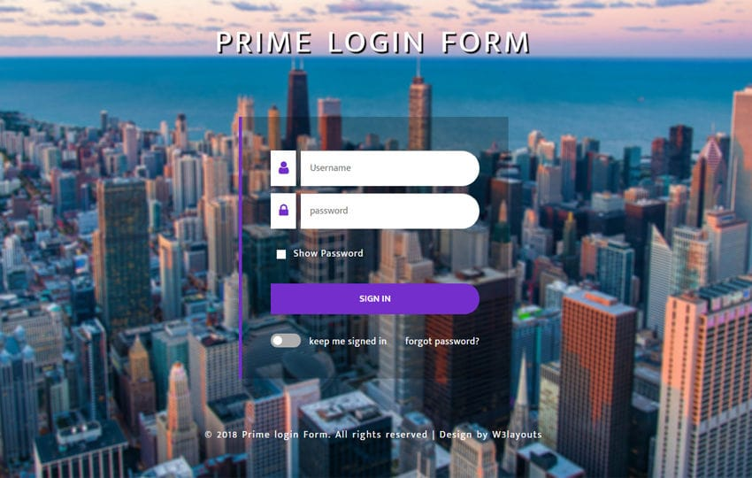 Prime Login Form Flat Responsive Widget Template Mobile website template Free