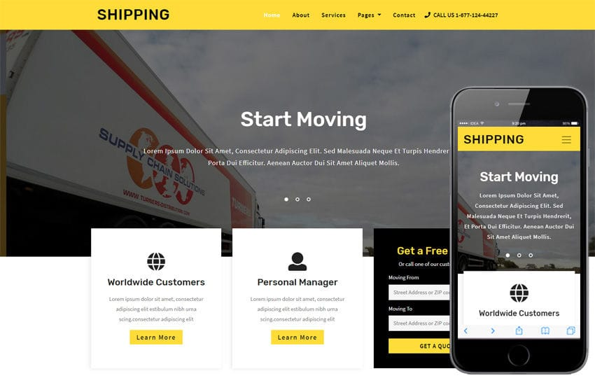 Shipping Transportation Category Bootstrap Responsive Web Template Mobile website template Free