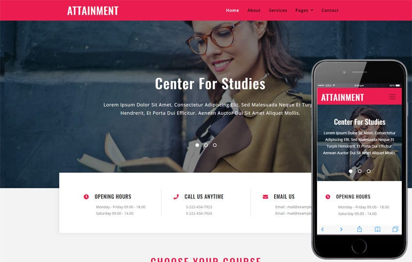 Attainment Education Category Bootstrap Responsive Web Template Mobile website template Free