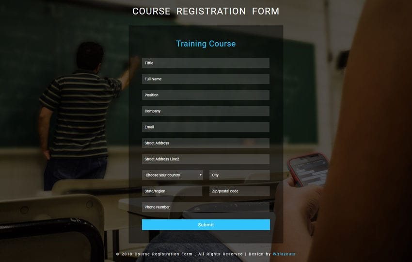 Course Registration Form Flat Responsive Widget Template Mobile website template Free