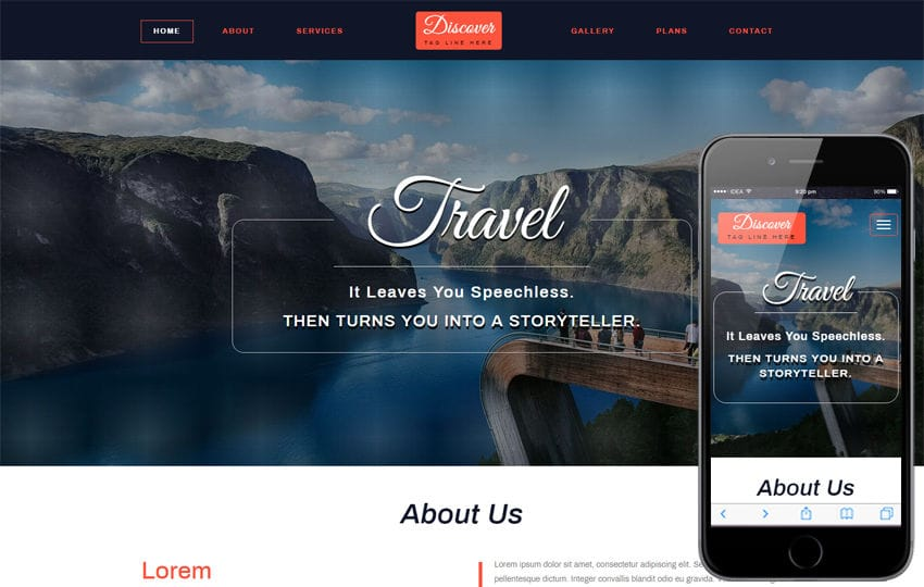 Discover Travel Category Bootstrap Responsive Web Template Mobile website template Free