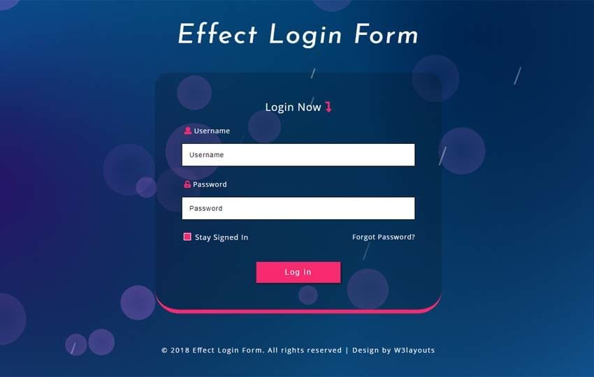 Effect Login Form Responsive Widget Template Mobile website template Free