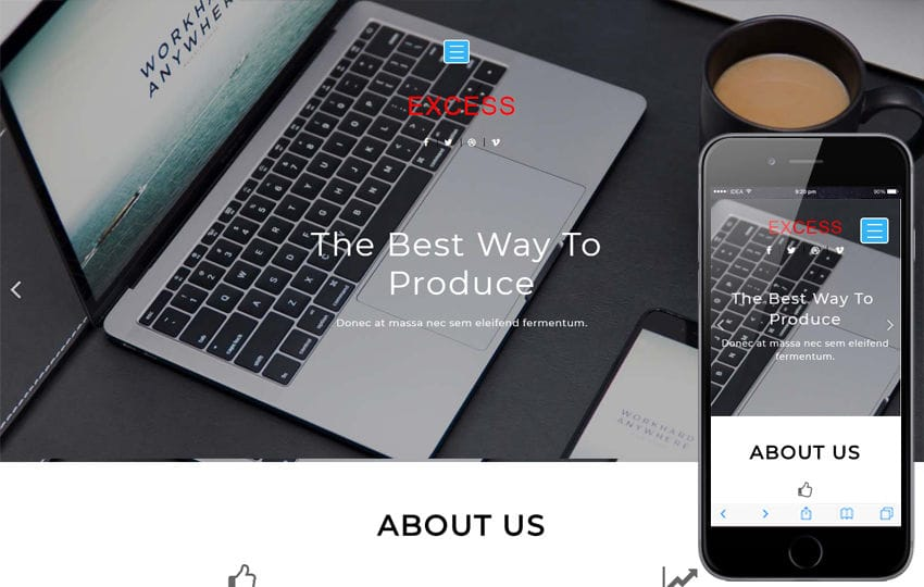 Excess Corporate Category Flat Bootstrap Responsive Web Template Mobile website template Free
