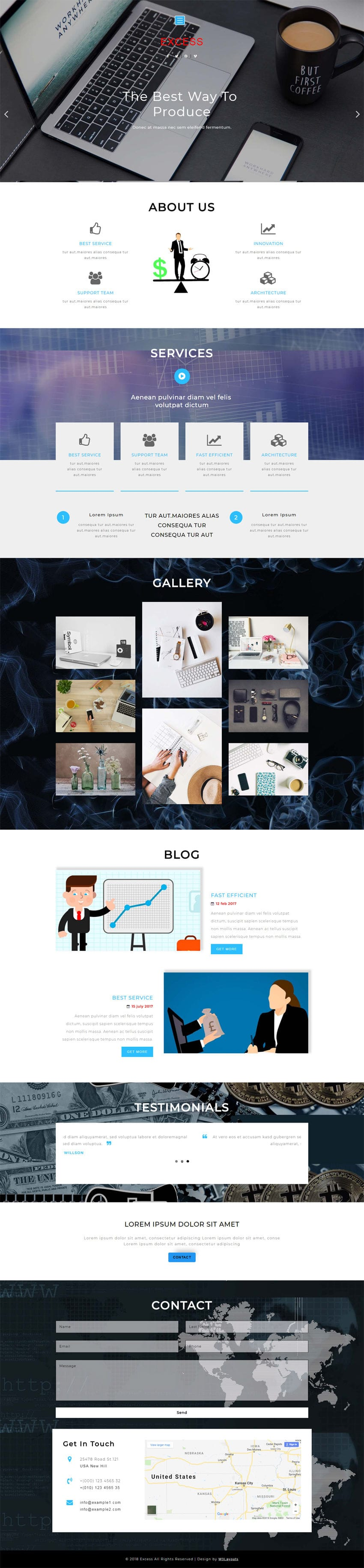 Excess Corporate Category Flat Bootstrap Responsive Web