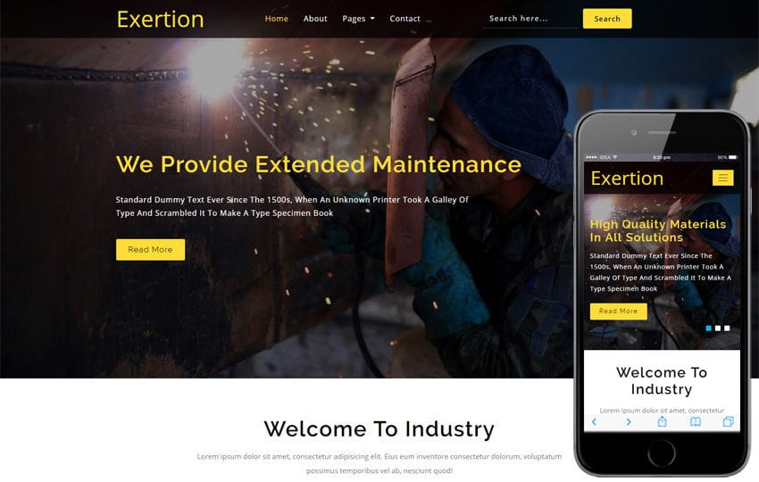 Exertion Industrial Category Bootstrap Responsive Web Template Mobile website template Free