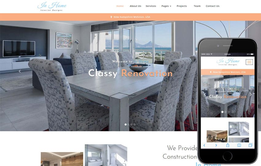 In Home Interior Category Bootstrap Responsive Web Template Mobile website template Free