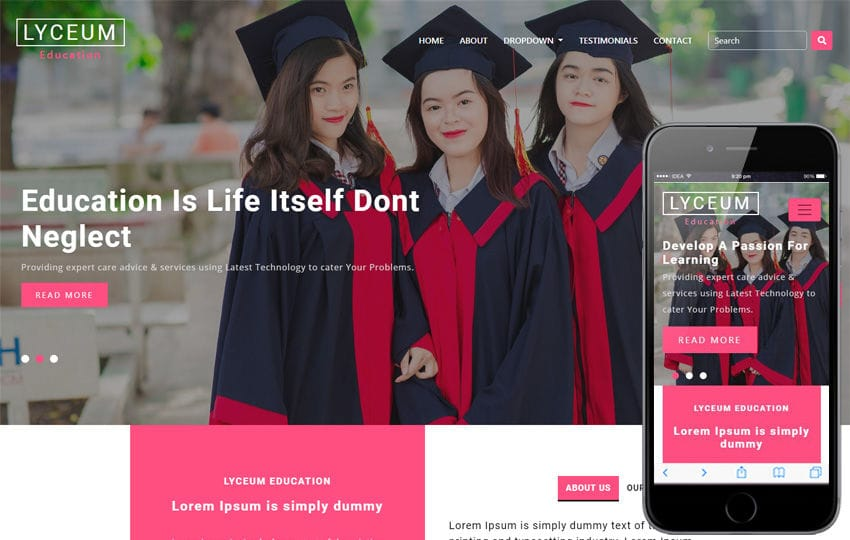 Lyceum Educational Category Bootstrap Responsive Web Template Mobile website template Free