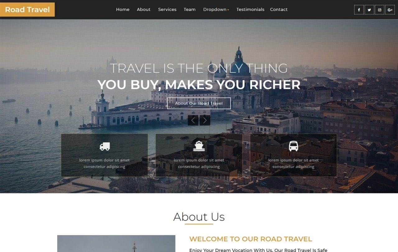 Road Travel – Travel Category Bootstrap Responsive Web Template Mobile website template Free