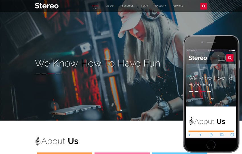 Stereo Entertainment Category Bootstrap Responsive Web Template Mobile website template Free