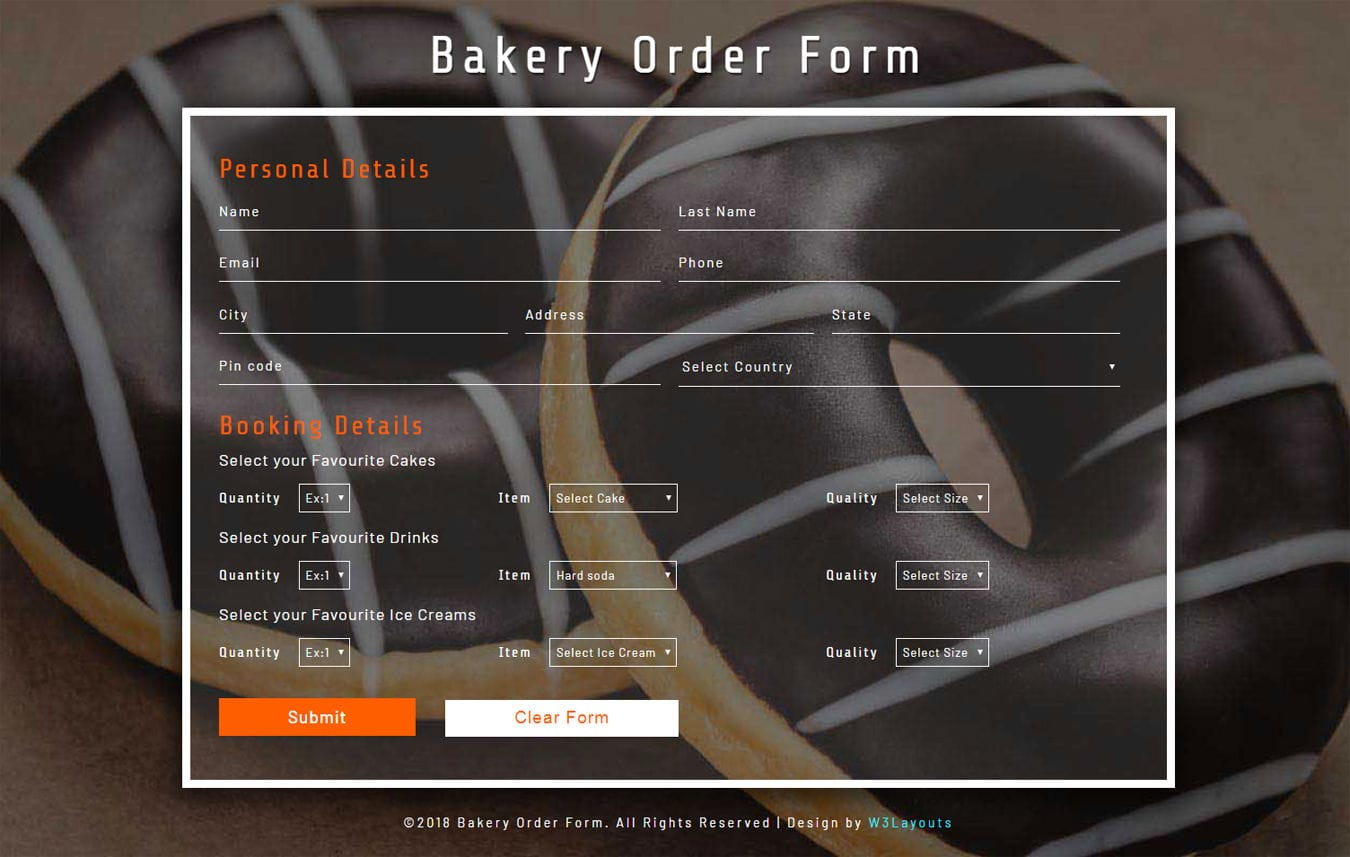 Bakery Order Form Flat Responsive Widget Template Mobile website template Free