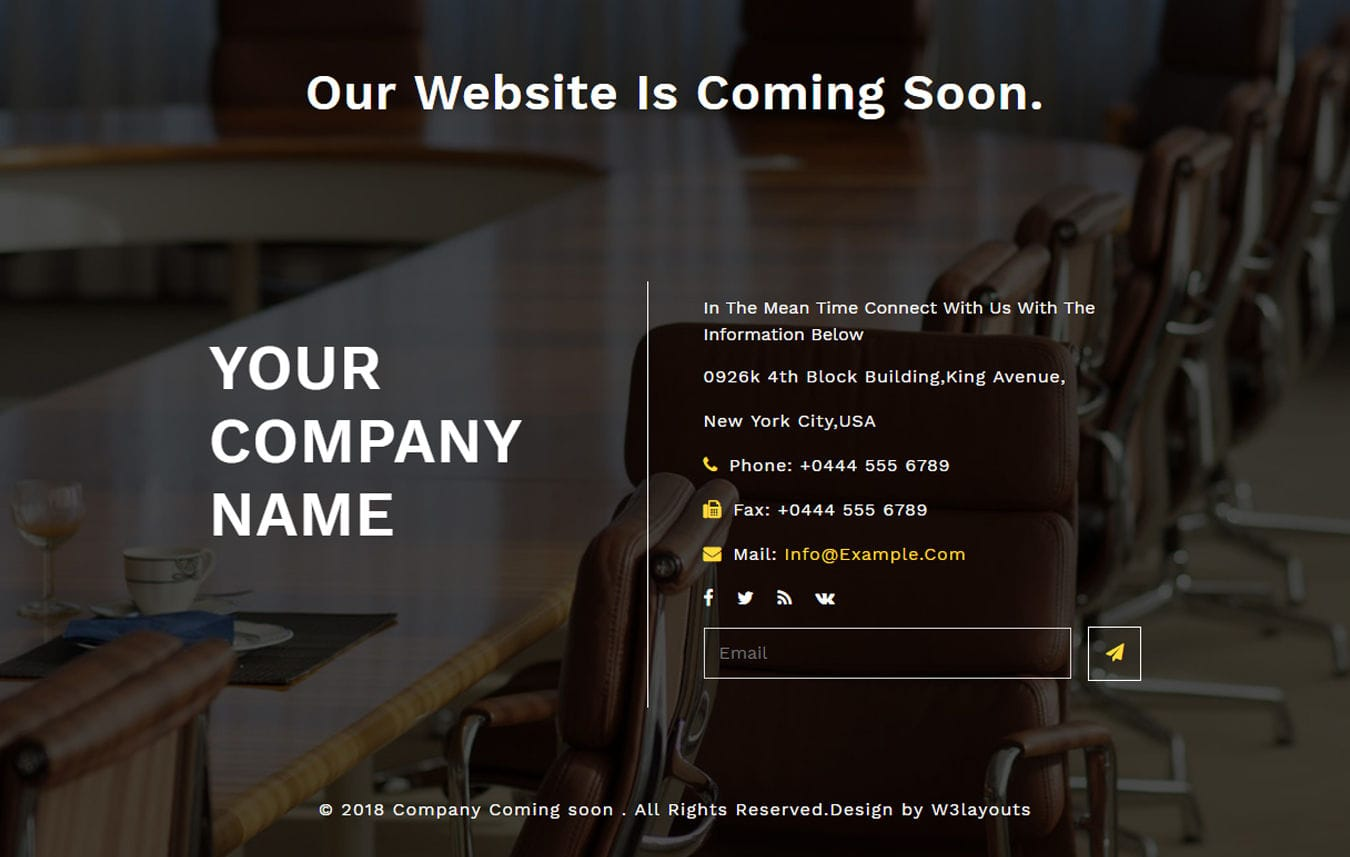 Company Coming Soon Flat Responsive Widget Template Mobile website template Free