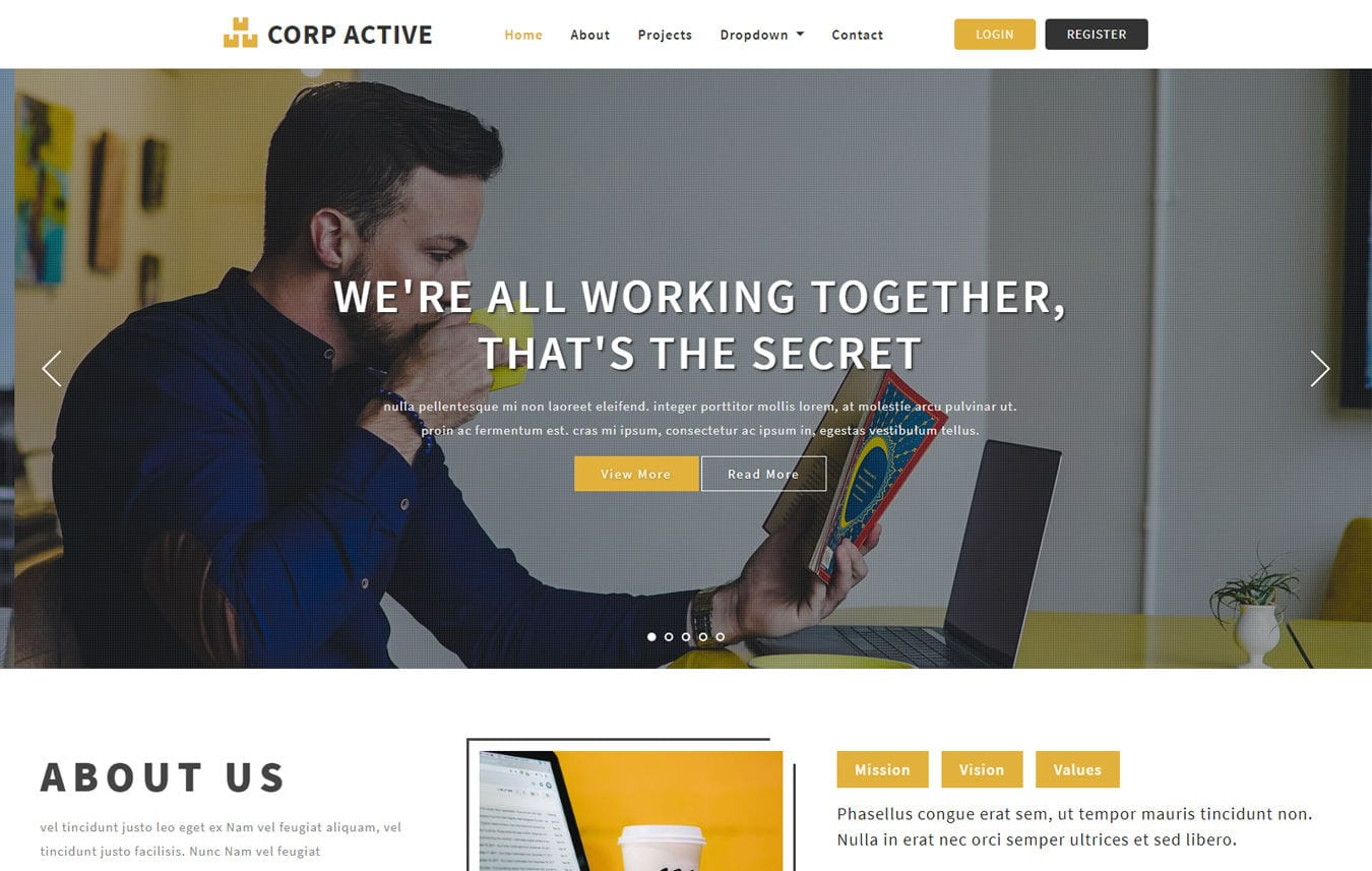 Corp Active Corporate Bootstrap Responsive Template Mobile website template Free