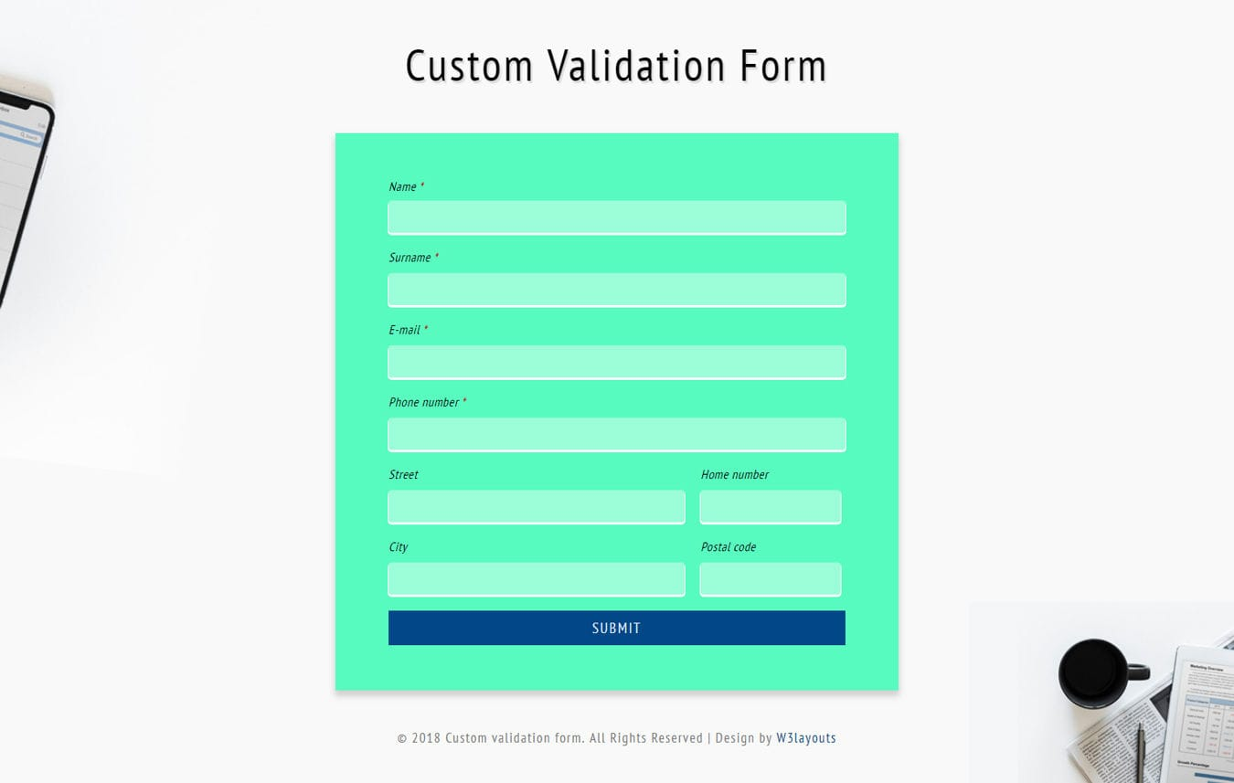 Custom Validation Form Flat Responsive Widget Template Mobile website template Free
