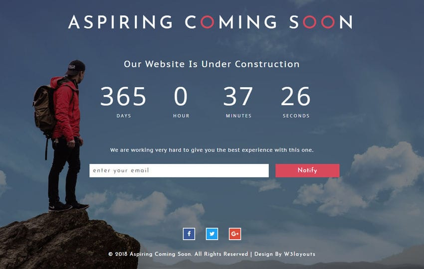 Aspiring Coming Soon Responsive Widget Template Mobile website template Free