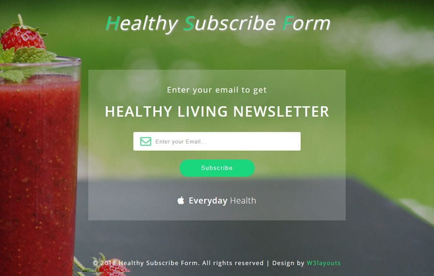 Healthy Subscribe Form Responsive Widget Template Mobile website template Free