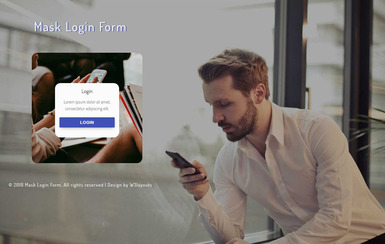 Mask Login Form Flat Responsive Widget Template Mobile website template Free