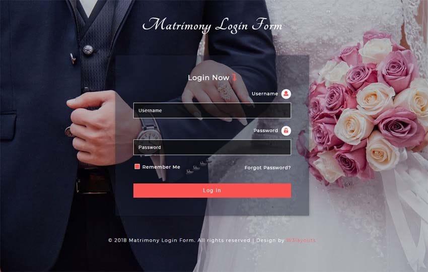 Matrimony Login Form Responsive Widget Template Mobile website template Free