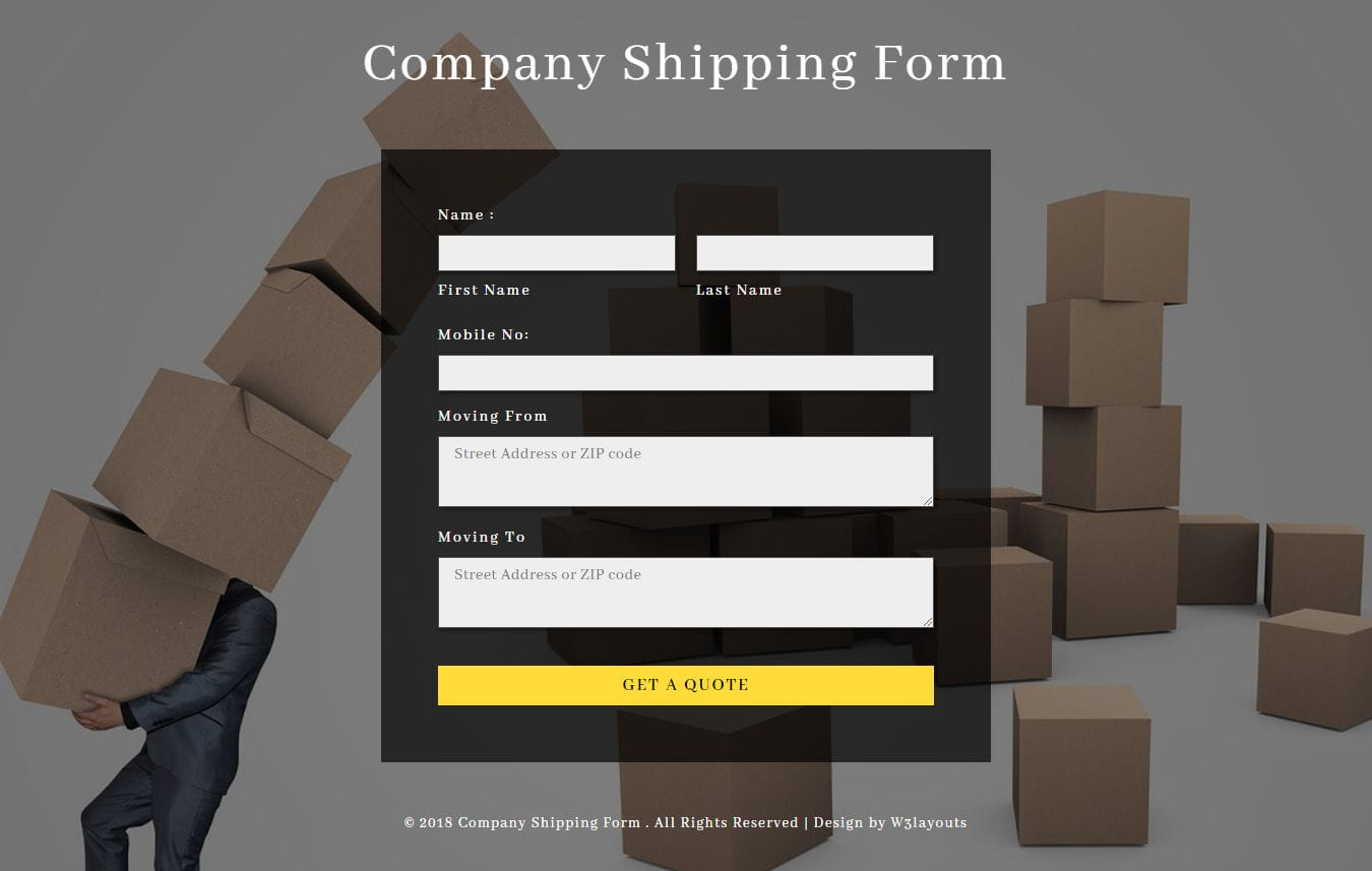 Shipping Form Flat Responsive Widget Template Mobile website template Free