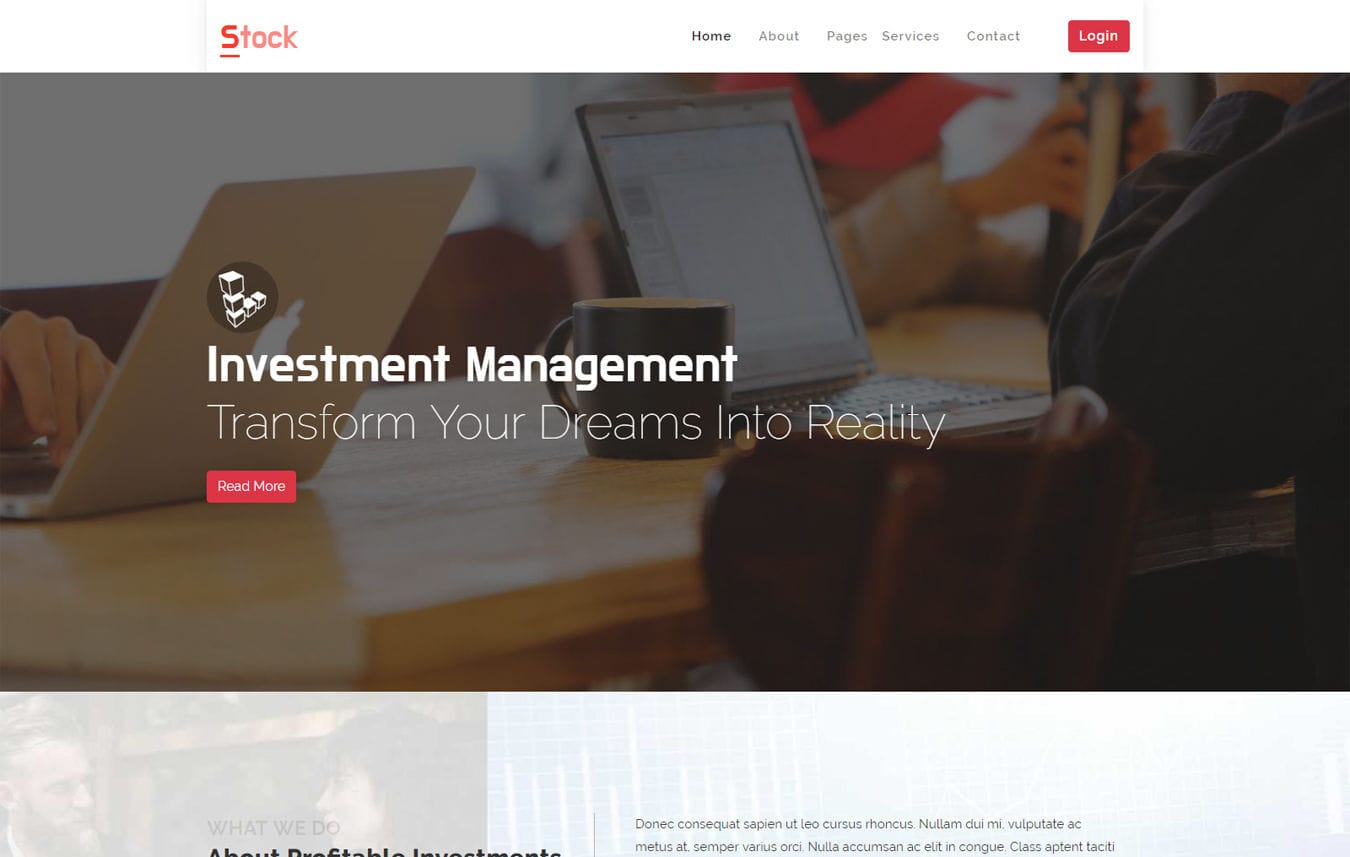 Stock Corporate Bootstrap Responsive Web Template Mobile website template Free