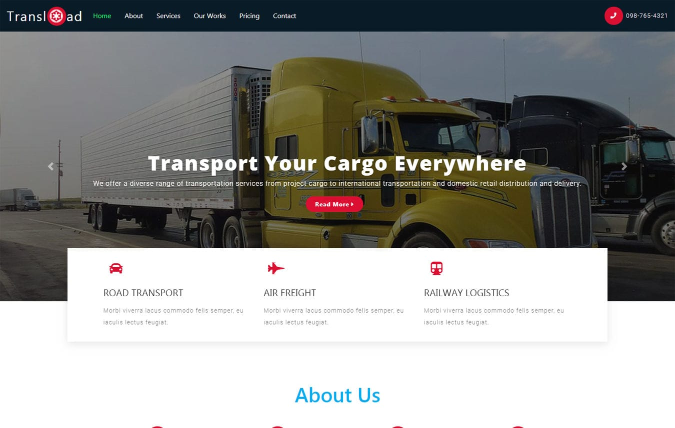 Trans load a Transport Category Bootstrap Responsive Web Template Mobile website template Free