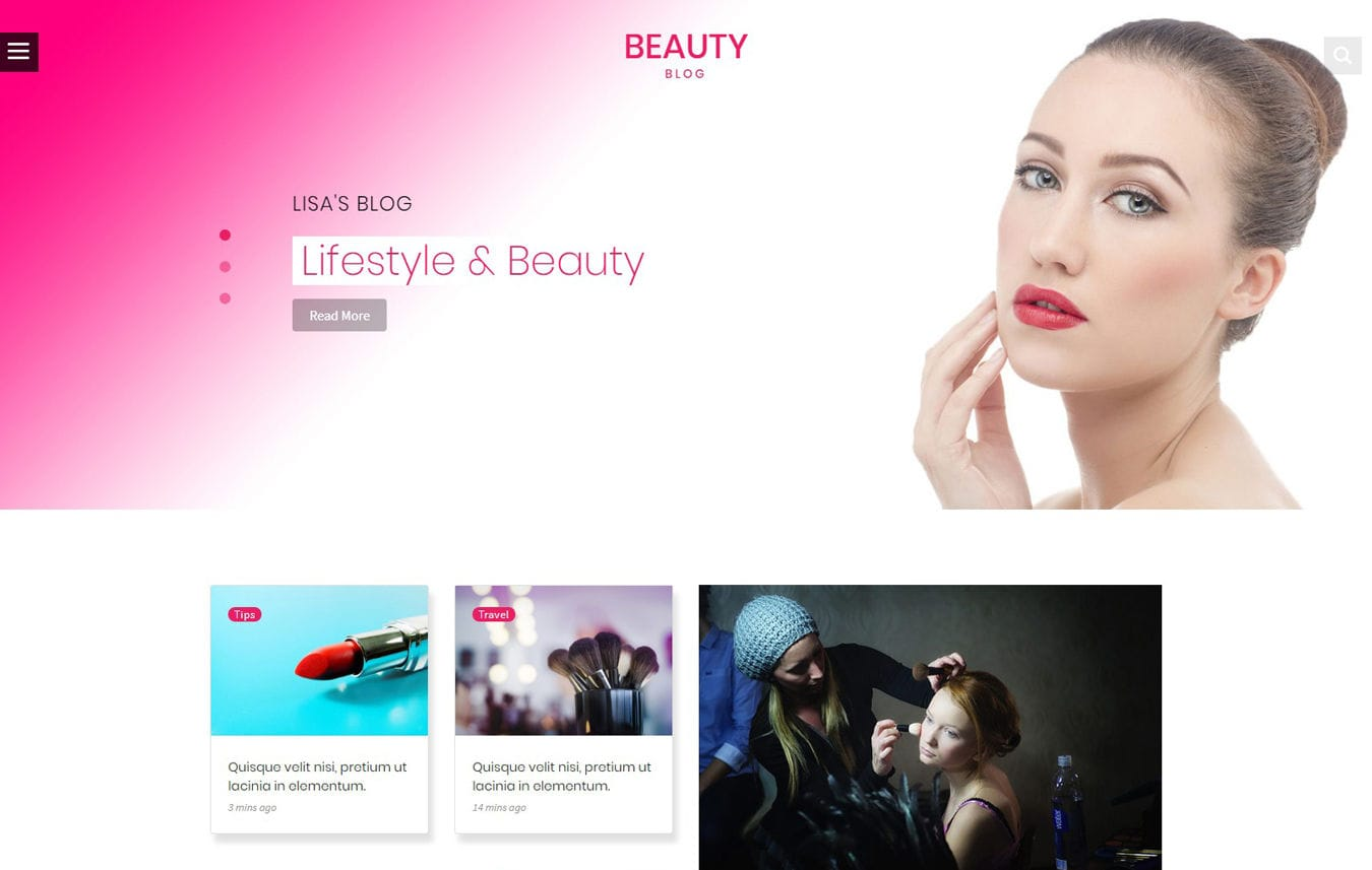 Beauty Blog Category Bootstrap Responsive Web Template Mobile website template Free