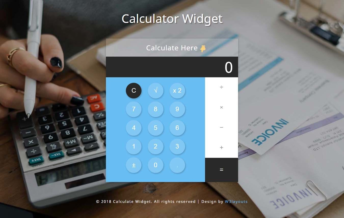 Calculator Widget Flat Responsive Widget Template Mobile website template Free
