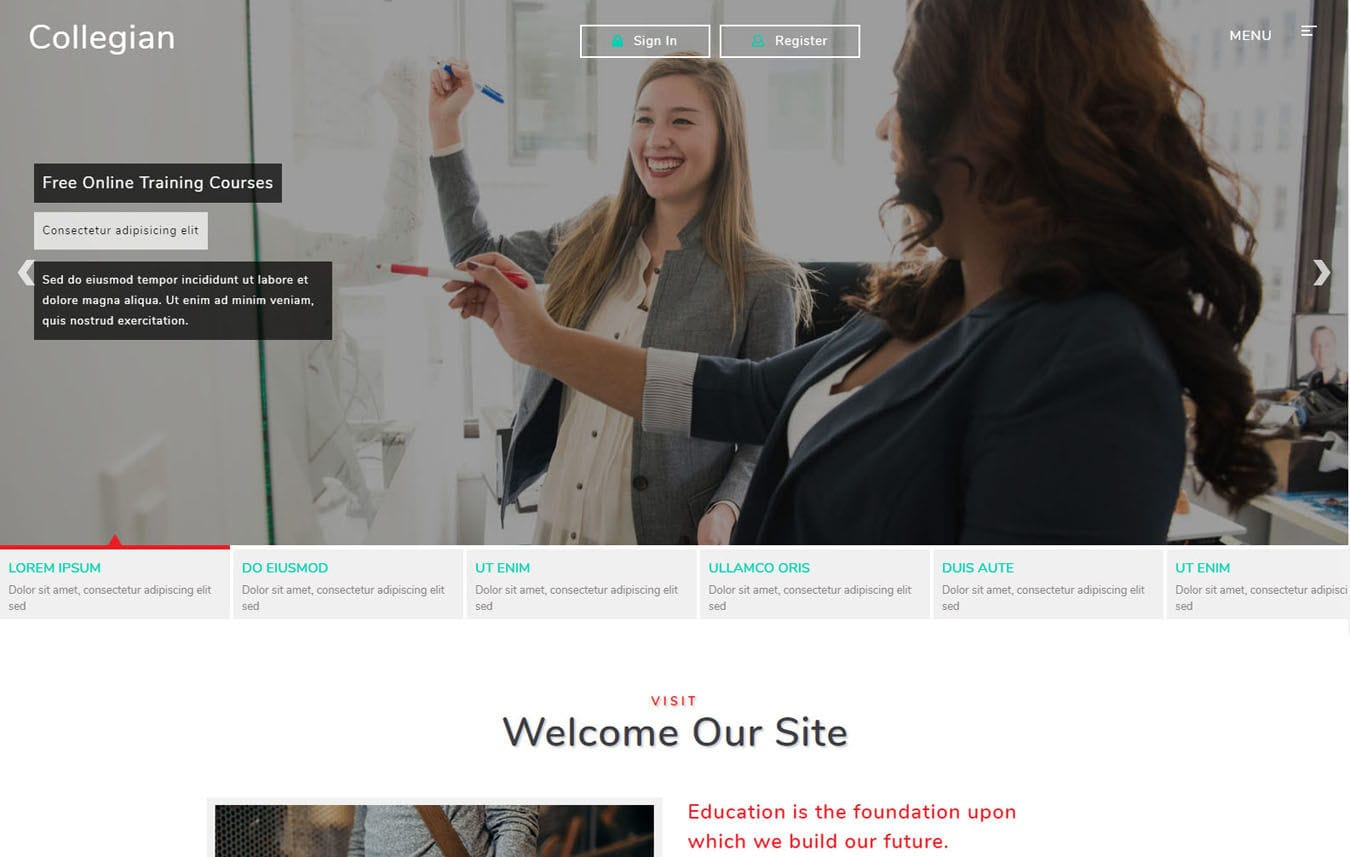 Collegian Education Category Bootstrap Responsive Web Template. Mobile website template Free