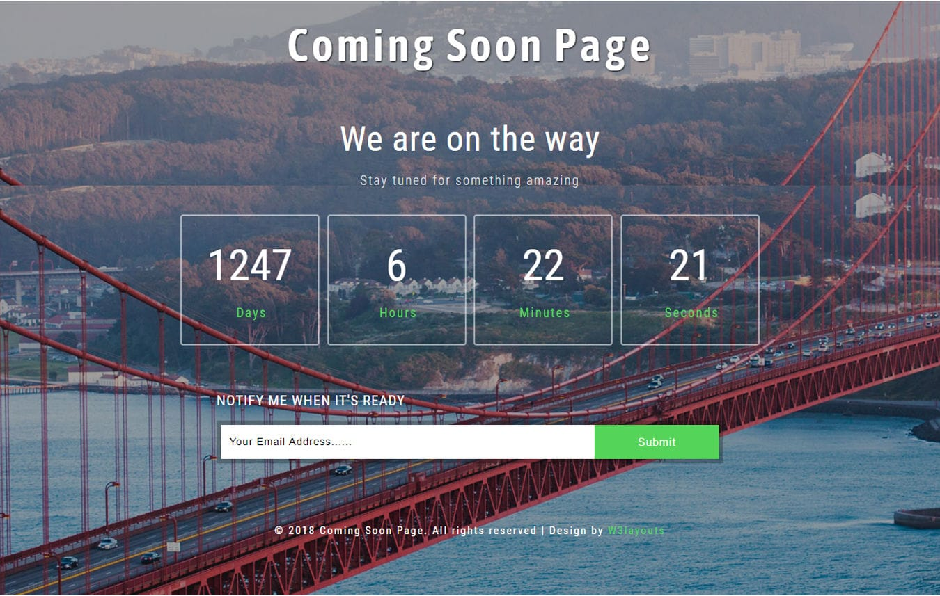 Coming Soon Page Flat Responsive Widget Template Mobile website template Free