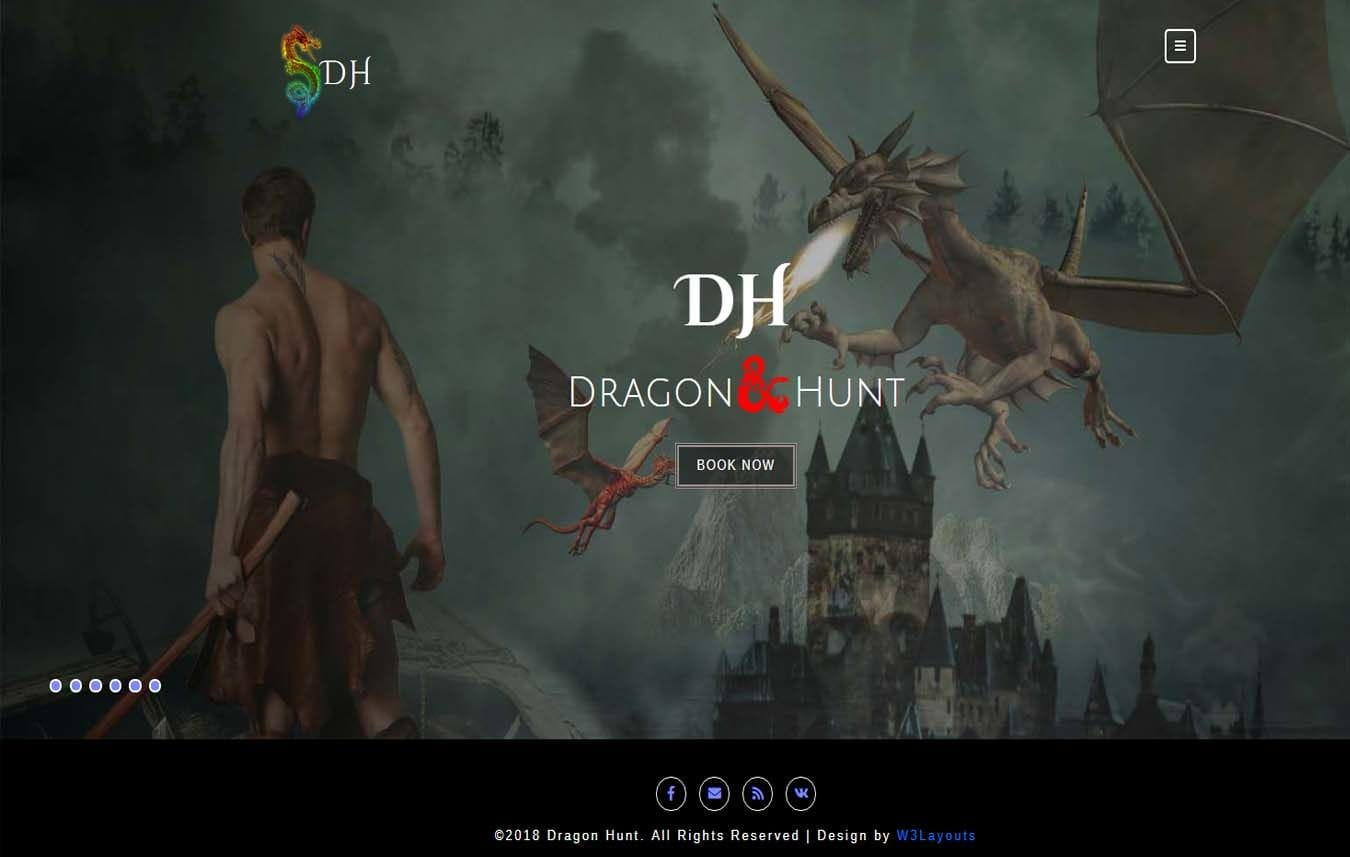 Dragon Hunt a Games Category Bootstrap responsive Website Template Mobile website template Free