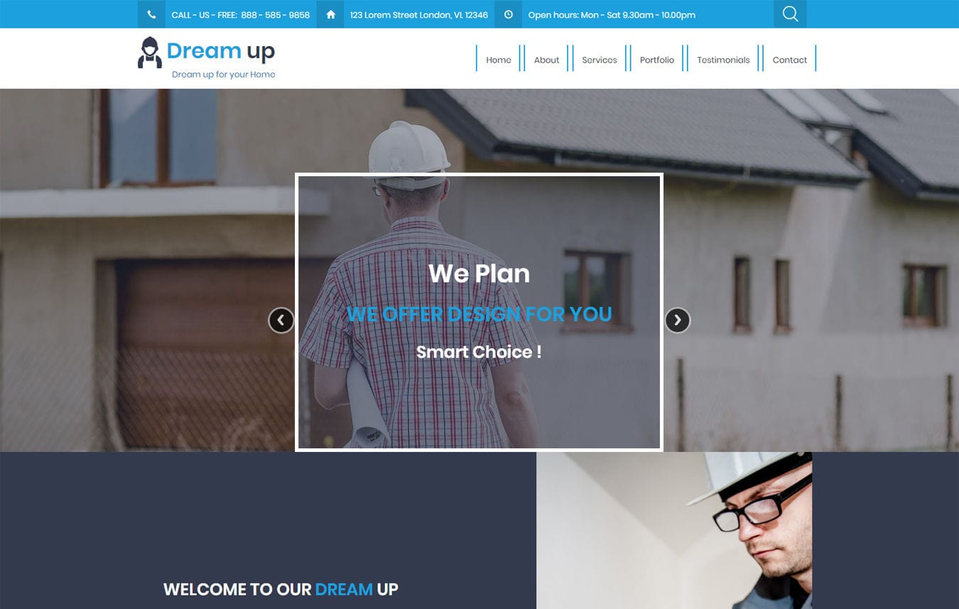 Dream up an Industrial Category Flat Bootstrap Responsive web Template Mobile website template Free