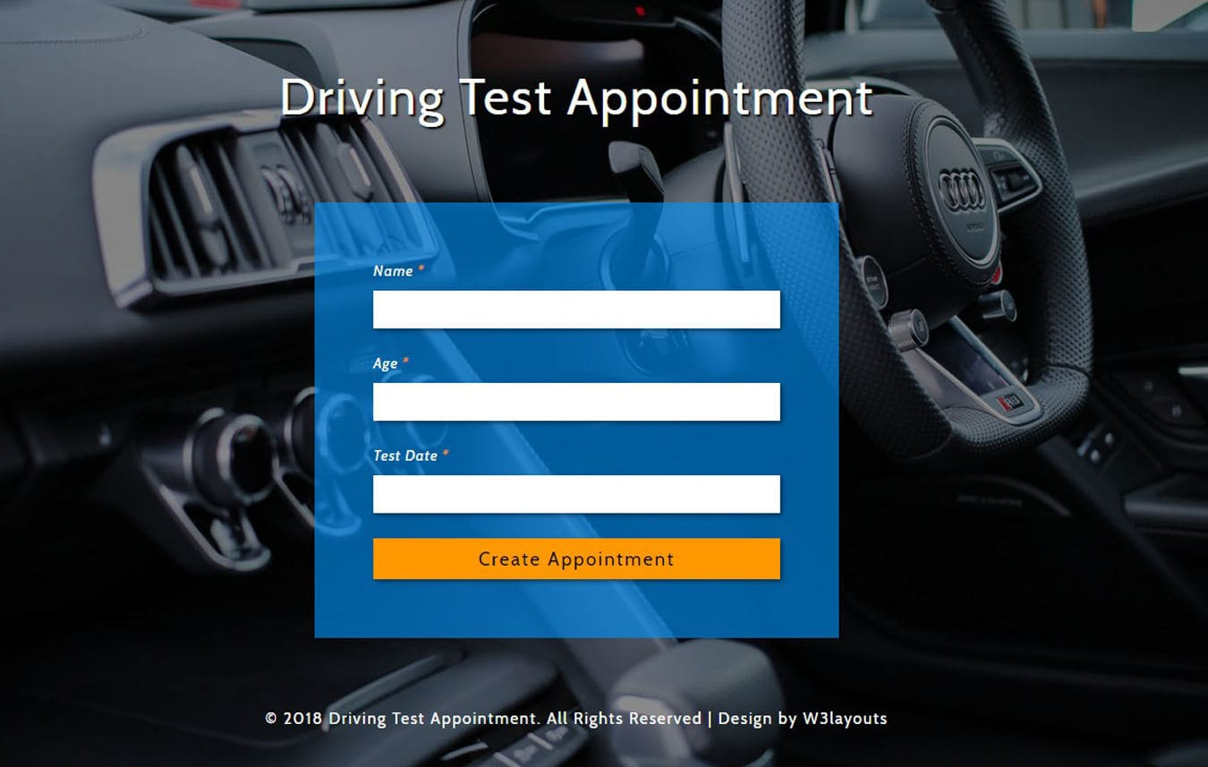 Driving Test Appointment Widget Flat Responsive Widget Template. Mobile website template Free