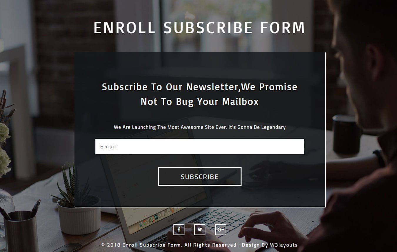Enroll Subscribe Form Responsive Widget Template Mobile website template Free