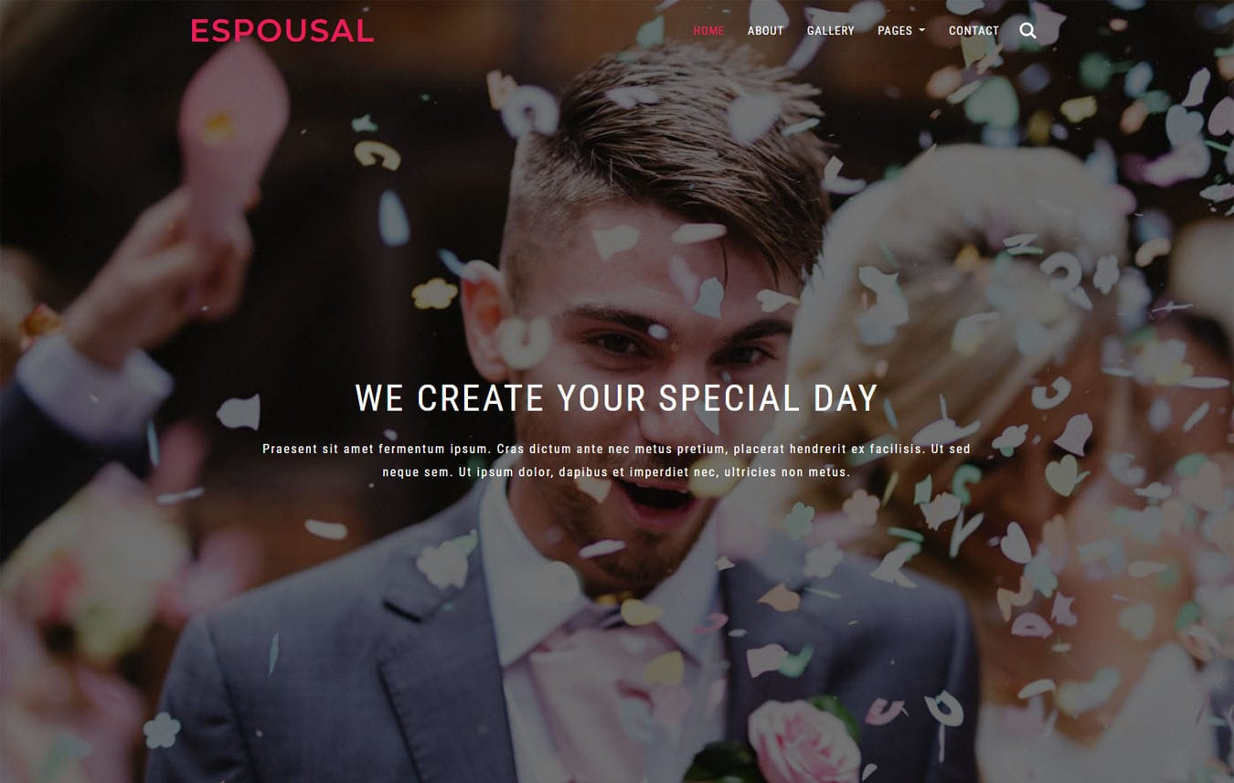 Espousal a Wedding Category Bootstrap Responsive Web Template. Mobile website template Free