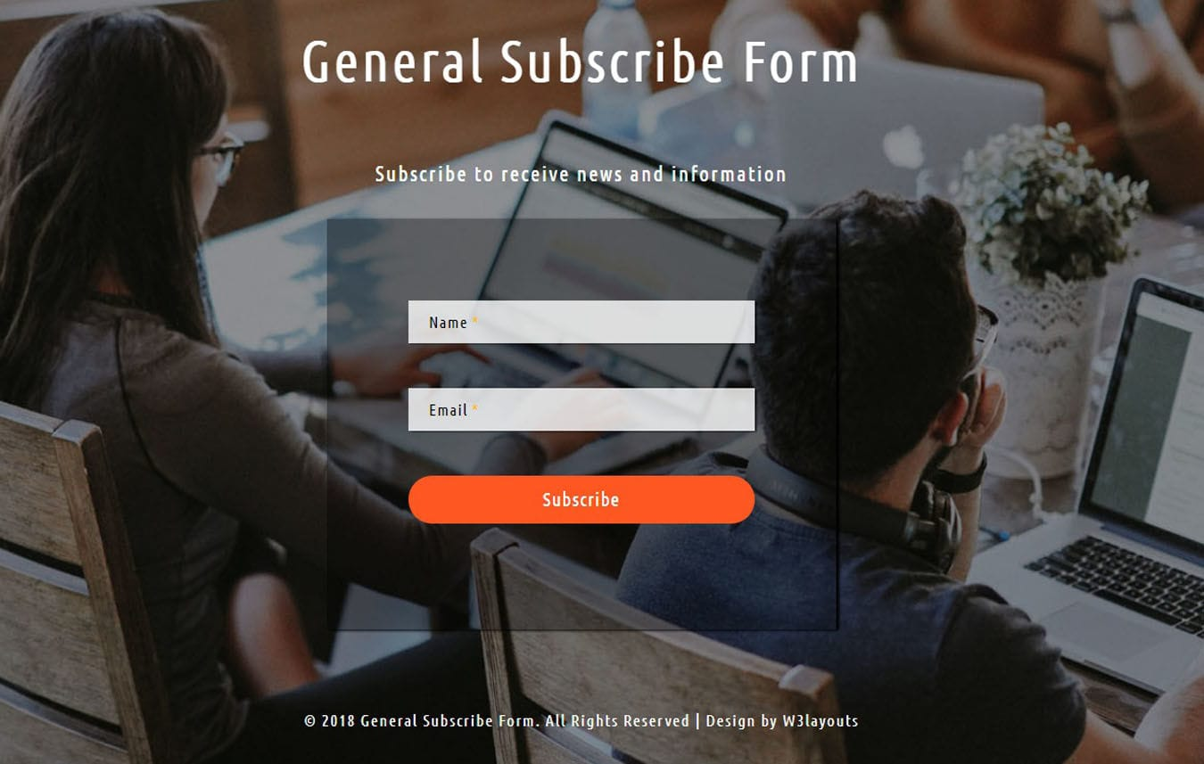 General Subscribe Form Flat Responsive Widget Template. Mobile website template Free