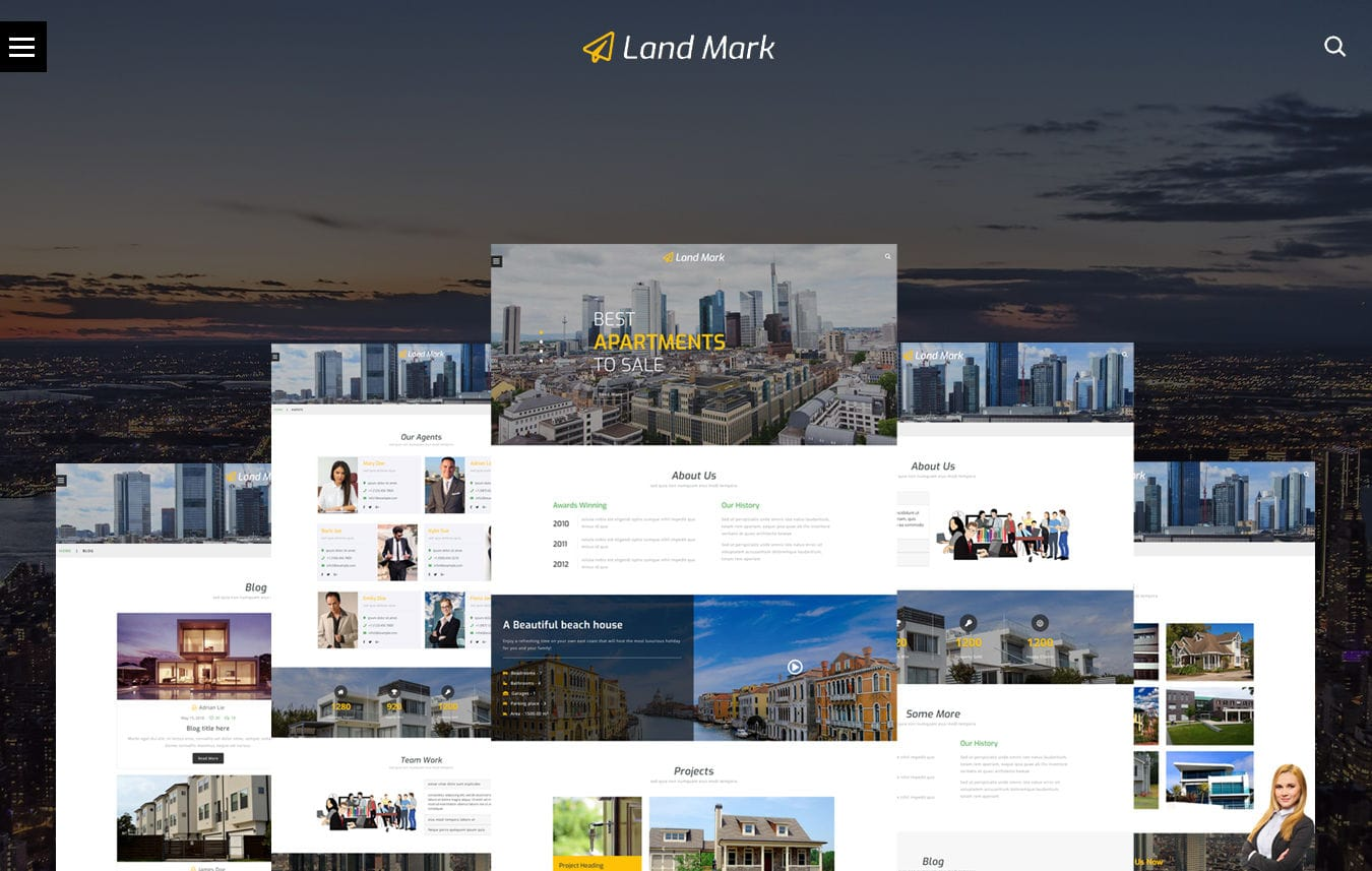 Land Mark – Real Estate Bootstrap Responsive Web Template Mobile website template Free