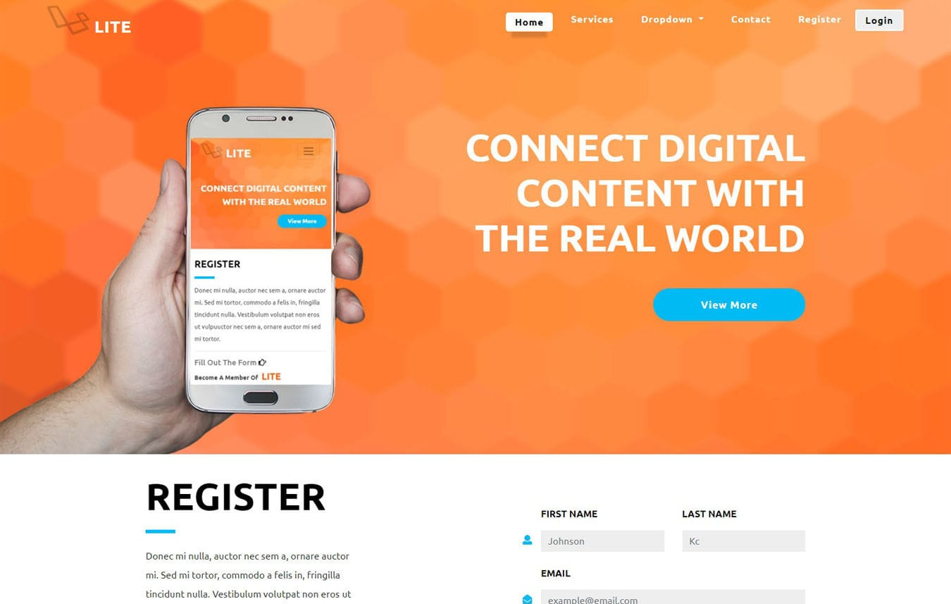 Lite a Bootstrap Responsive Web Template Mobile website template Free