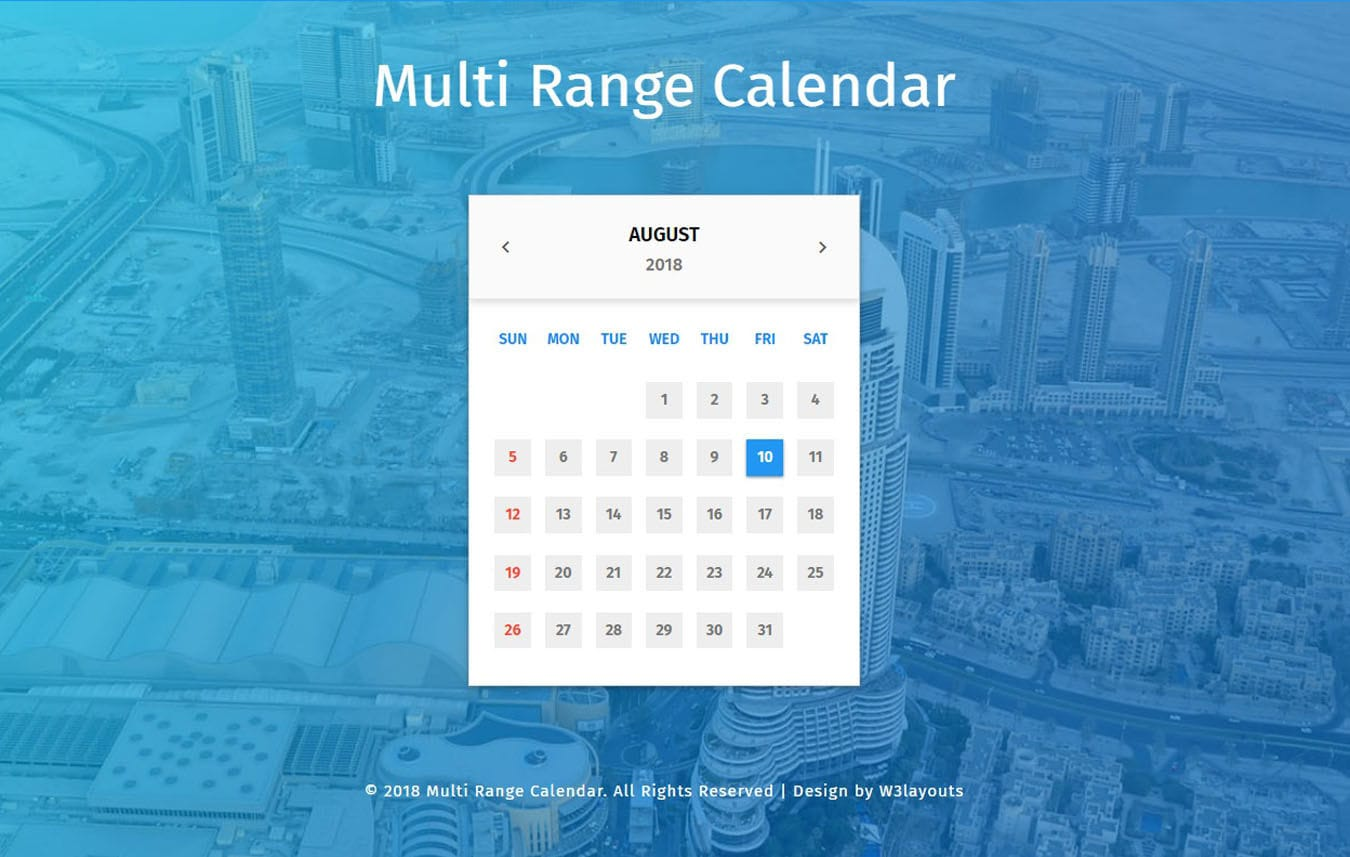 Multi Range Calendar Widget Flat Responsive Widget Template. Mobile website template Free