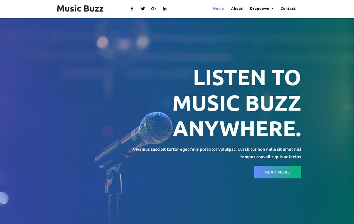 Music Buzz Music Category Bootstrap Responsive Web Template Mobile website template Free