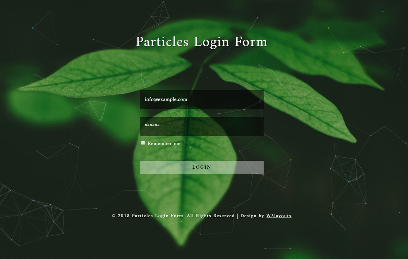 Particles Login Form Flat Responsive Widget Template. Mobile website template Free
